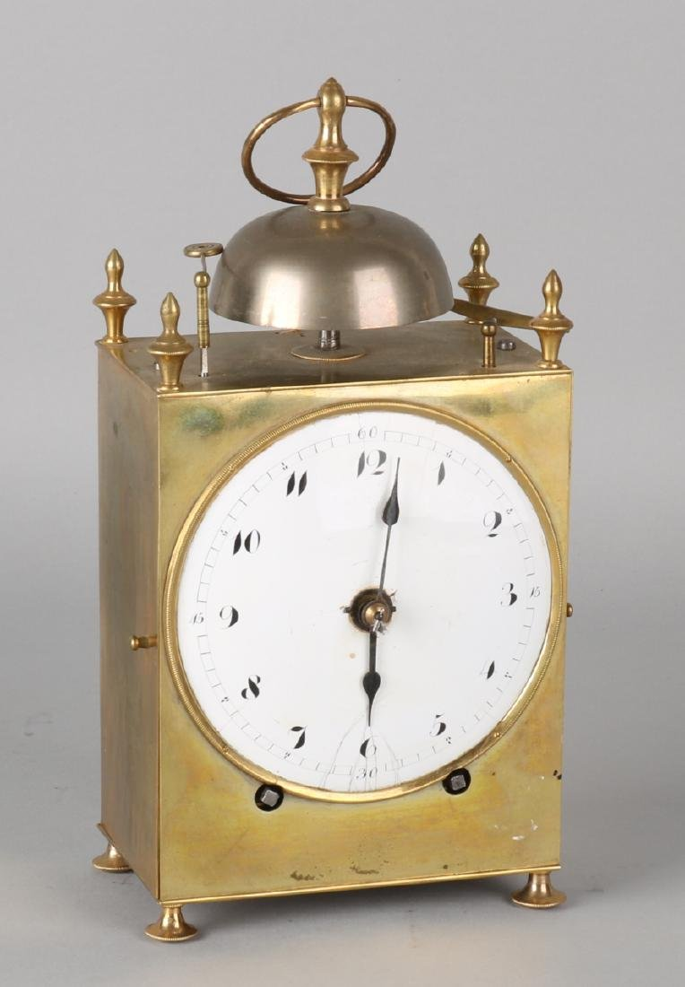 Large antique French brass Capucine officers bell with alarm clock and string ga