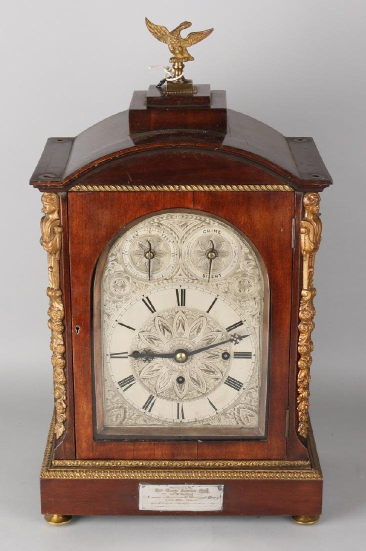 19th Century English mahogany table clock, Bracket clock with carillon on eight