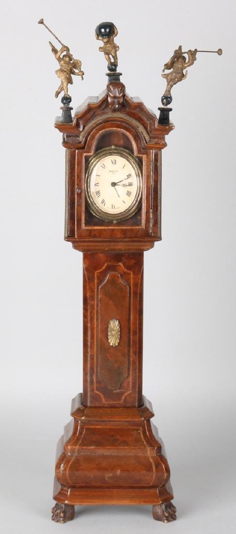 Dutch walnut walnut clock with Swiza eight-day clock and alarm clock. Circa 1930