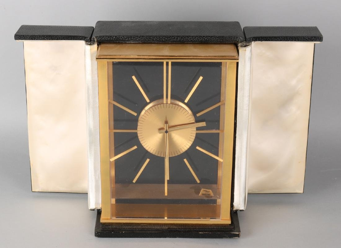 Large brass plated Imhof Swizz quarts desk clock in case. Second half of the 20t