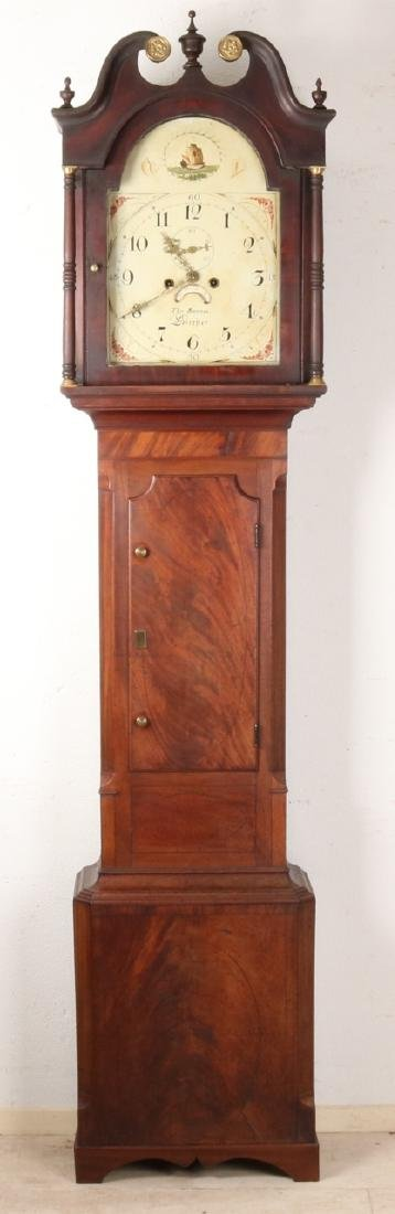 Early 19th century English mahogany standing clock with eight-day movement and b