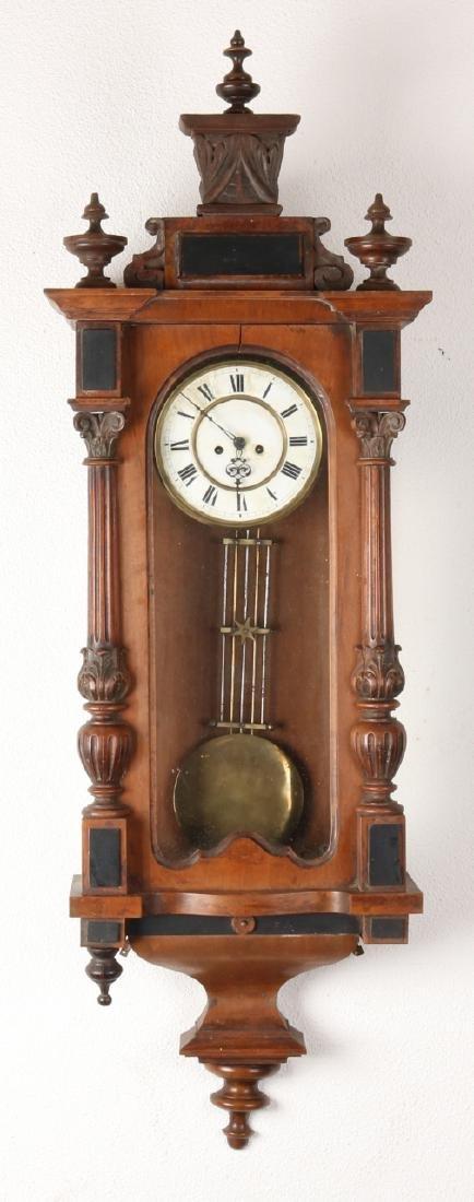 Antique German walnut Brothers Resch regulator for two weights. Circa 1880. Week