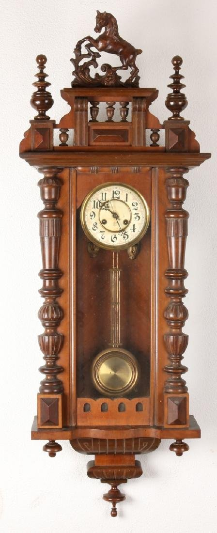 Large antique German walnut Junghans regulator with half columns. Circa 1900. We