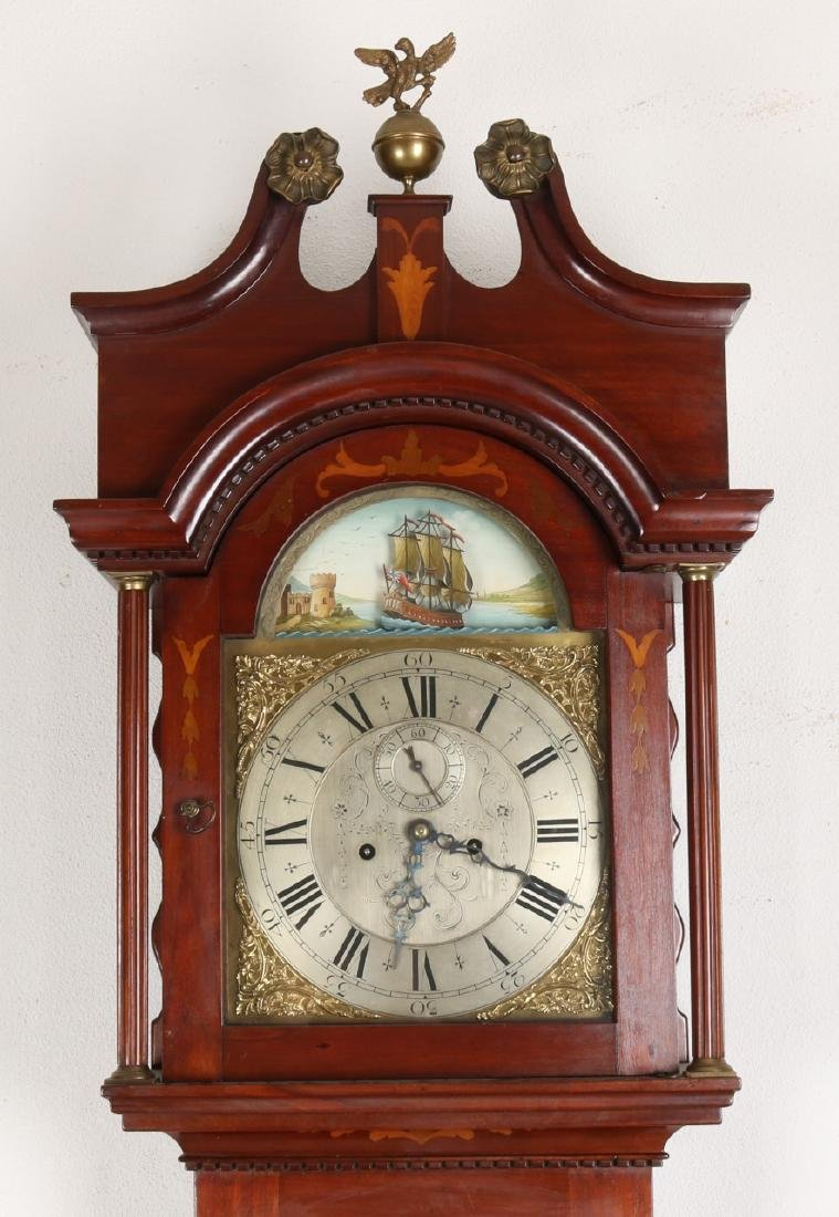 19th Century English mahogany standing clock with intarsia and plated engraved d