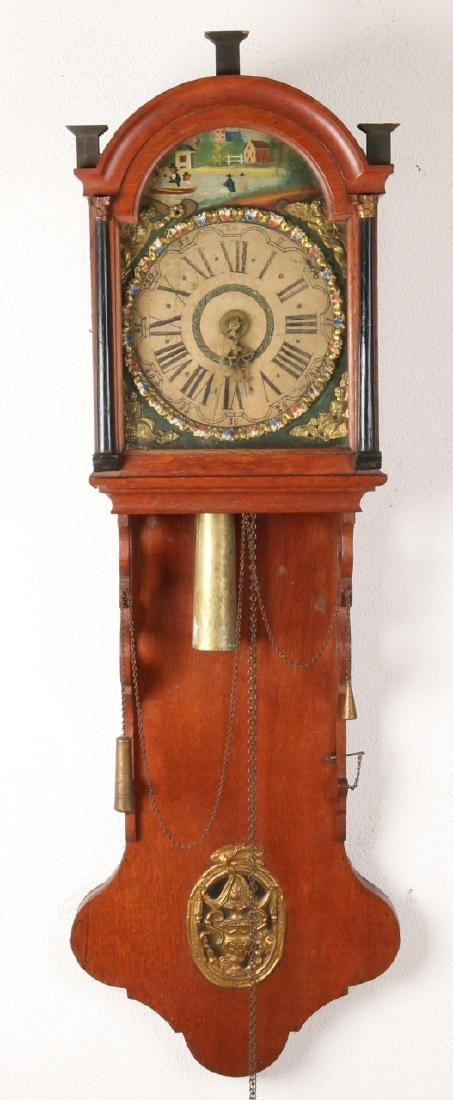 Early 19th century oak Frisian tail bell with wedding wreath and alarm clock. Si