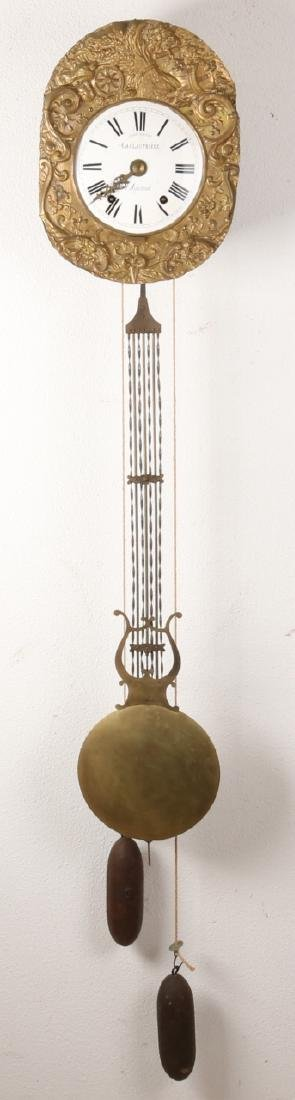 19th Century French comtoise with harpslinger. La Glautriere A. Aigurande. With