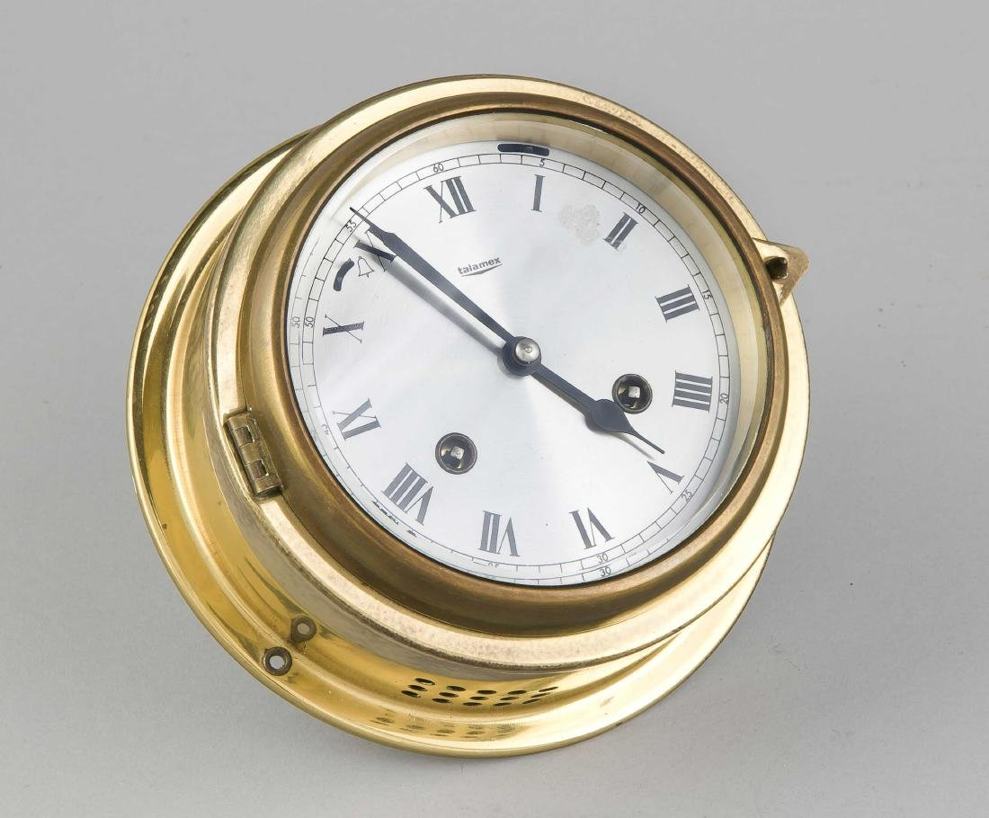 Old brass Talamex-Germany ship clock with plated dial. Second half of the 20th c