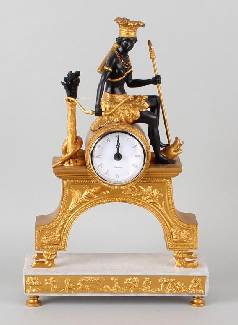 New empire style clock 21st century with female Moor (battery function) in good