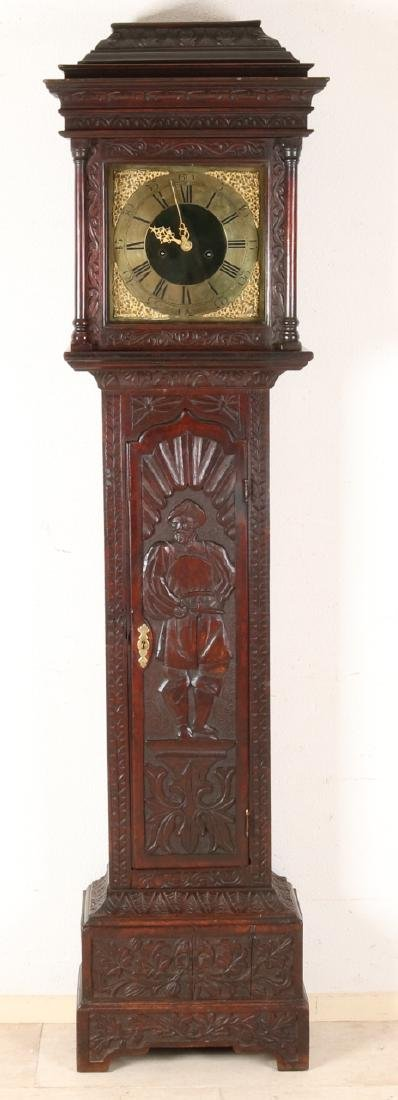 18th Century English oak wooden stand clock with eight-day movement and gold pla