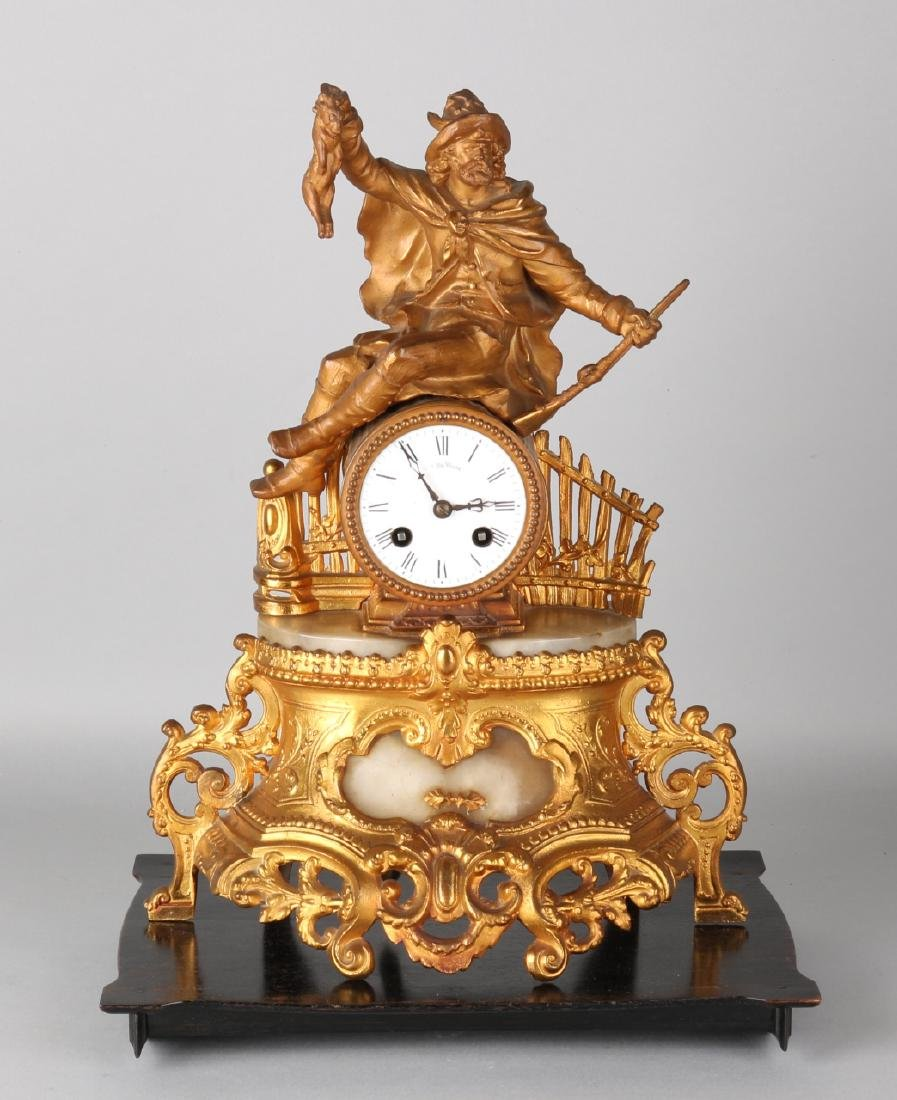Antique French pendulum with gilding. Circa 1860. Louis Philippe with alabaster.