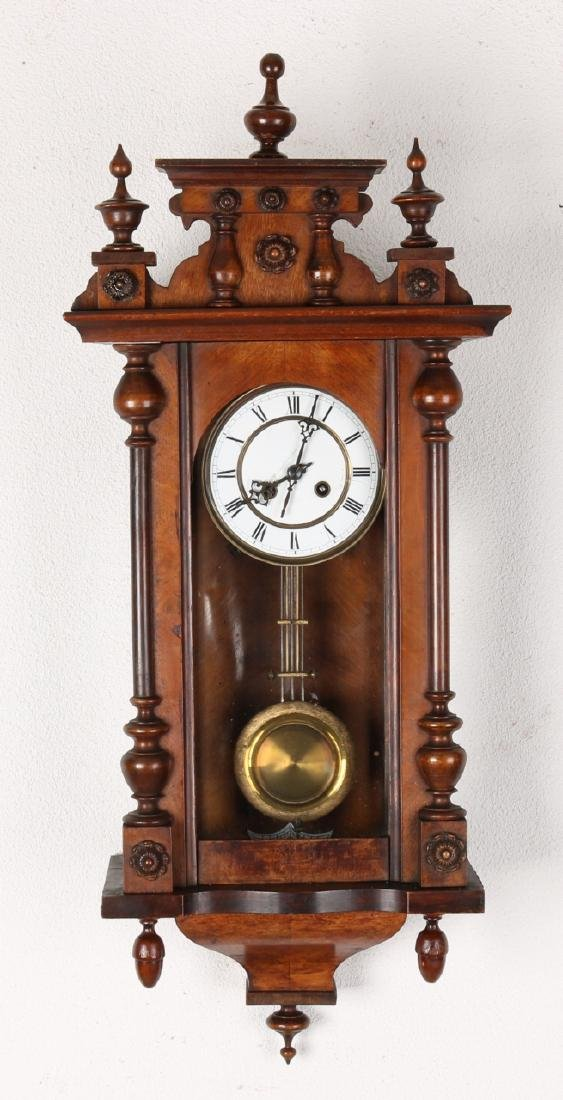 Antique German walnut regulator. Circa 1891. Dial damaged. Size: 81 cm. In reaso