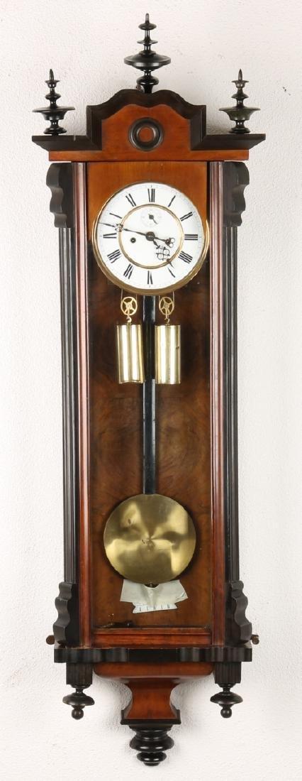 German walnut Louis Philippe regulator. Circa: 1870. With eight-day clock, secon