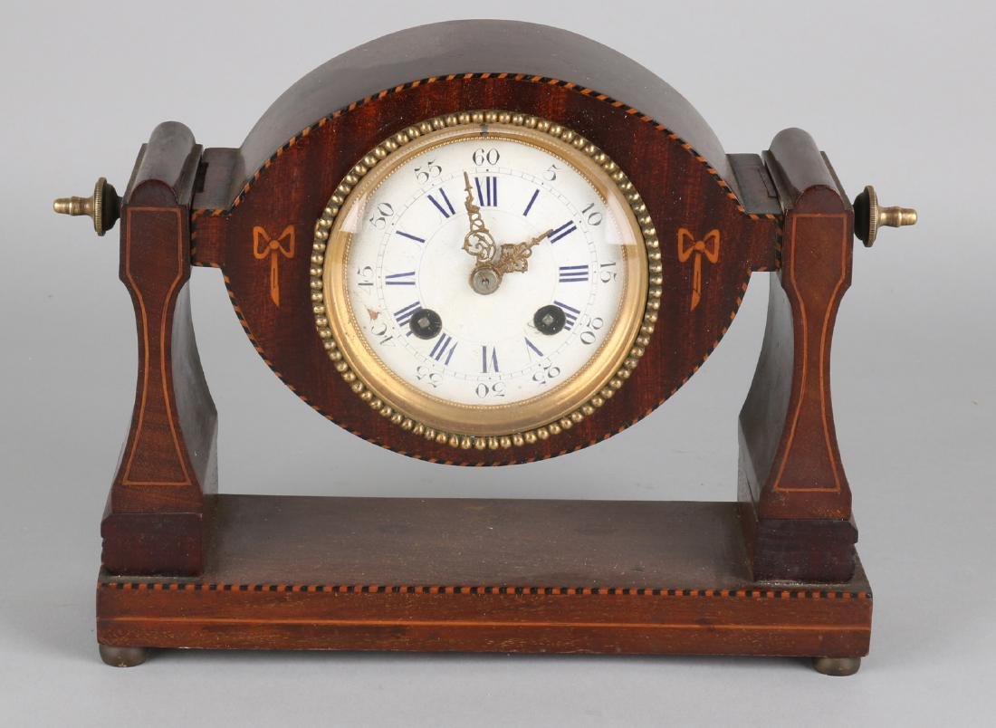19th Century French desk clock, mahogany with intarsia. Eight-day movement (dirt