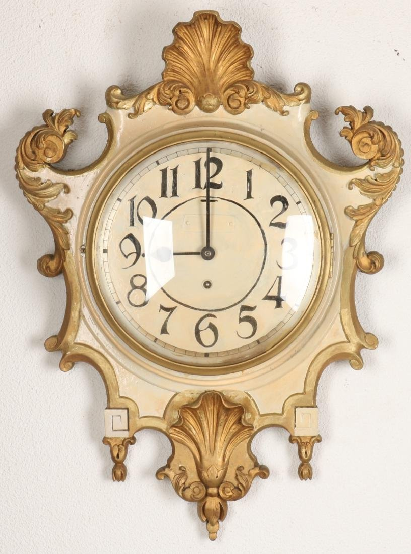 Antique wooden cartel wall clock with silent clockwork. Creme / gold colored. Ci