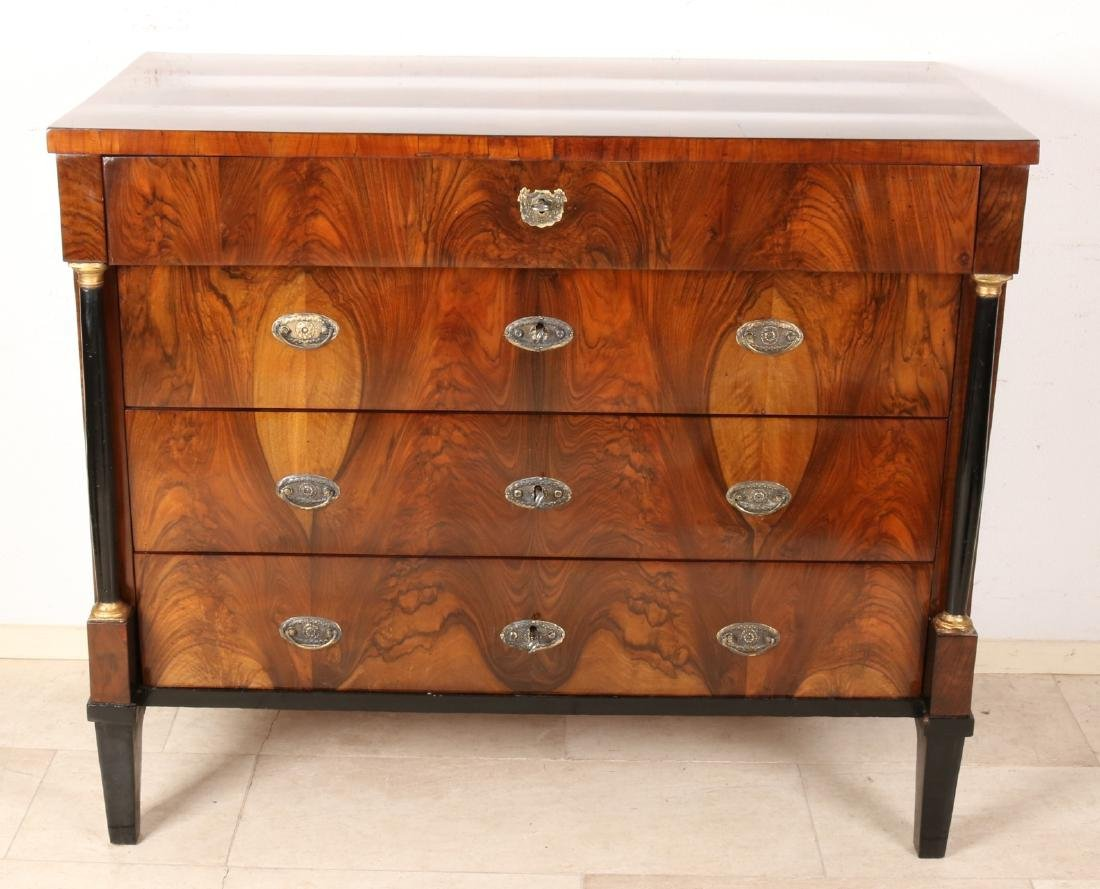 Large German early 19th century burl walnut Empire chest of drawers with full bl