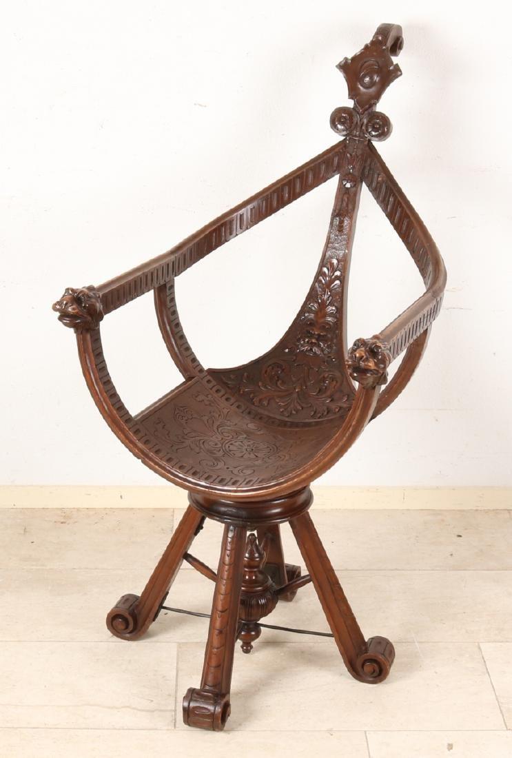 Rare Italian walnut plugged gondola / office chair, Neo-Renaissance, rotatable,
