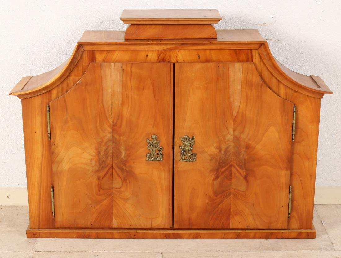 Antique German Viennese two-door cabinet with shelves and brass fittings. Cherry