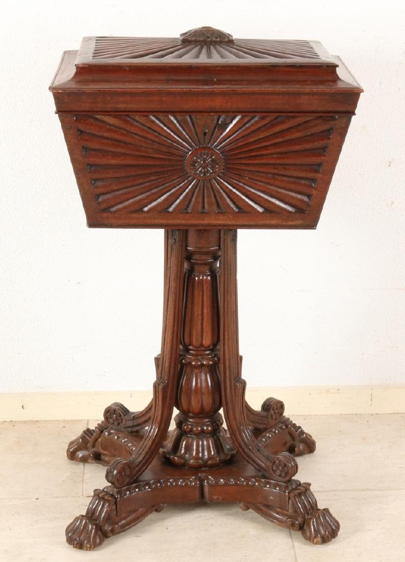 Separate 19th century English colonial teak (sewing) on ??tea chest? High leg, 4