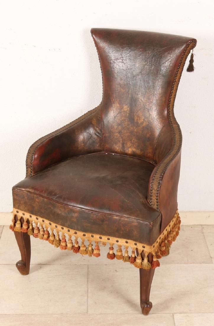Antique English leather knitting chair with copper nails. Beautiful patina. Size