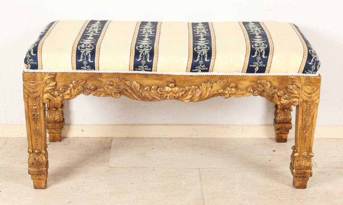 Gilt wood-stained bench in Louis Seize style with beautiful upholstery. 20th cen