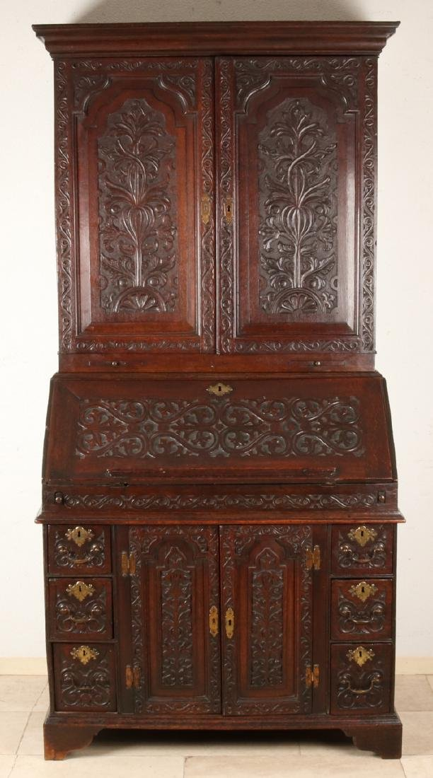 18th Century English oak wood secretary with uprising (stabbed). Secretaire has