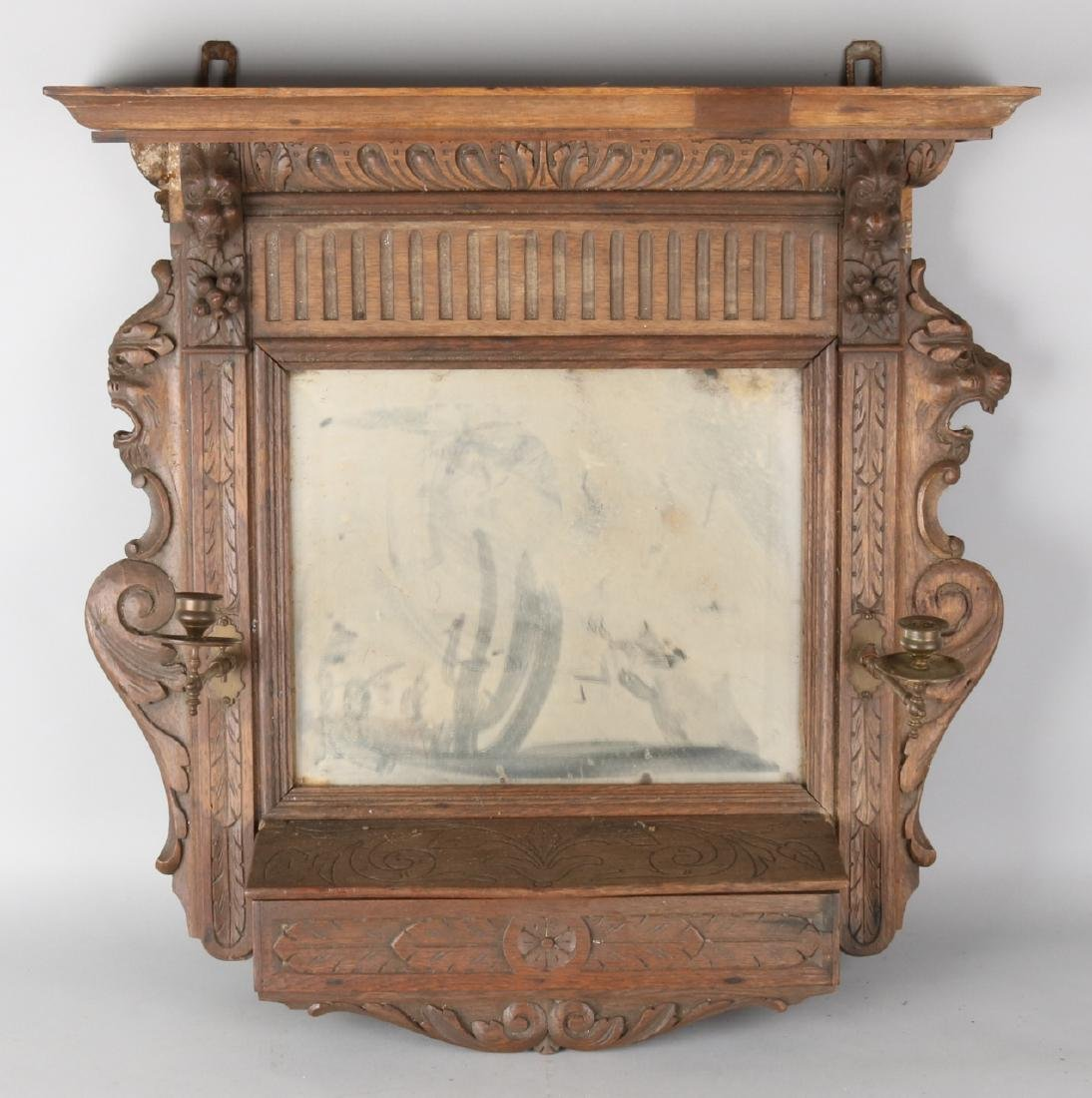 19th Century Malines oak wall mirror with cut glass, copper candlesticks and cam