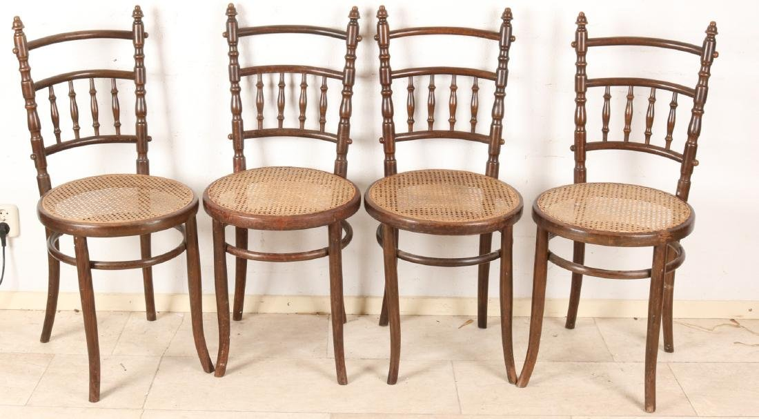 Set of four antique Thonet-style Fishel Wien cafe chairs. New bebiest. Circa 189