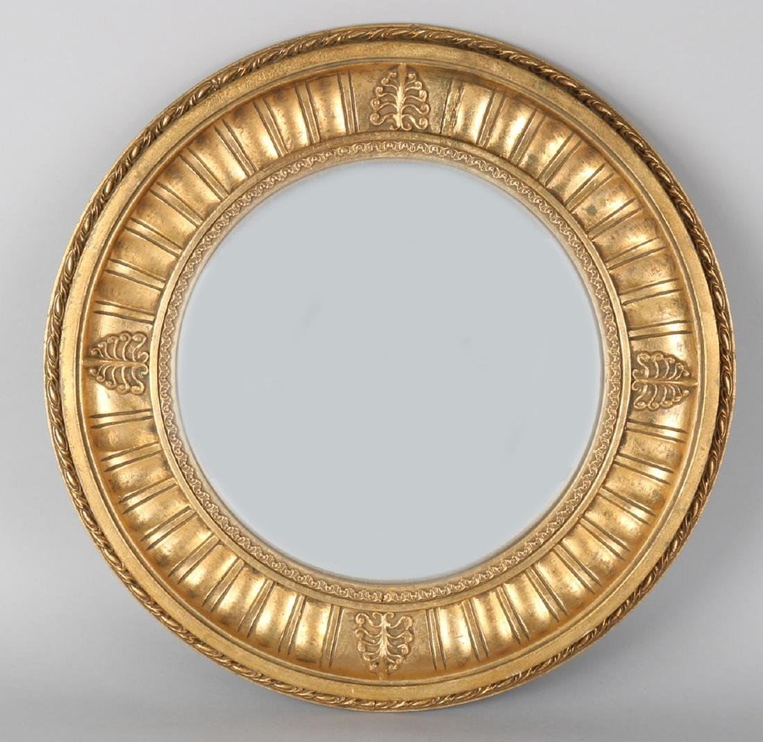 Old round Empire-style mirror. 20th century. With convex mirror. Dimensions: ø 4