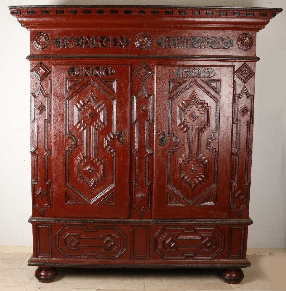 German oak two-door baroque cupboard with painting. Anno 1805. From the vicinity