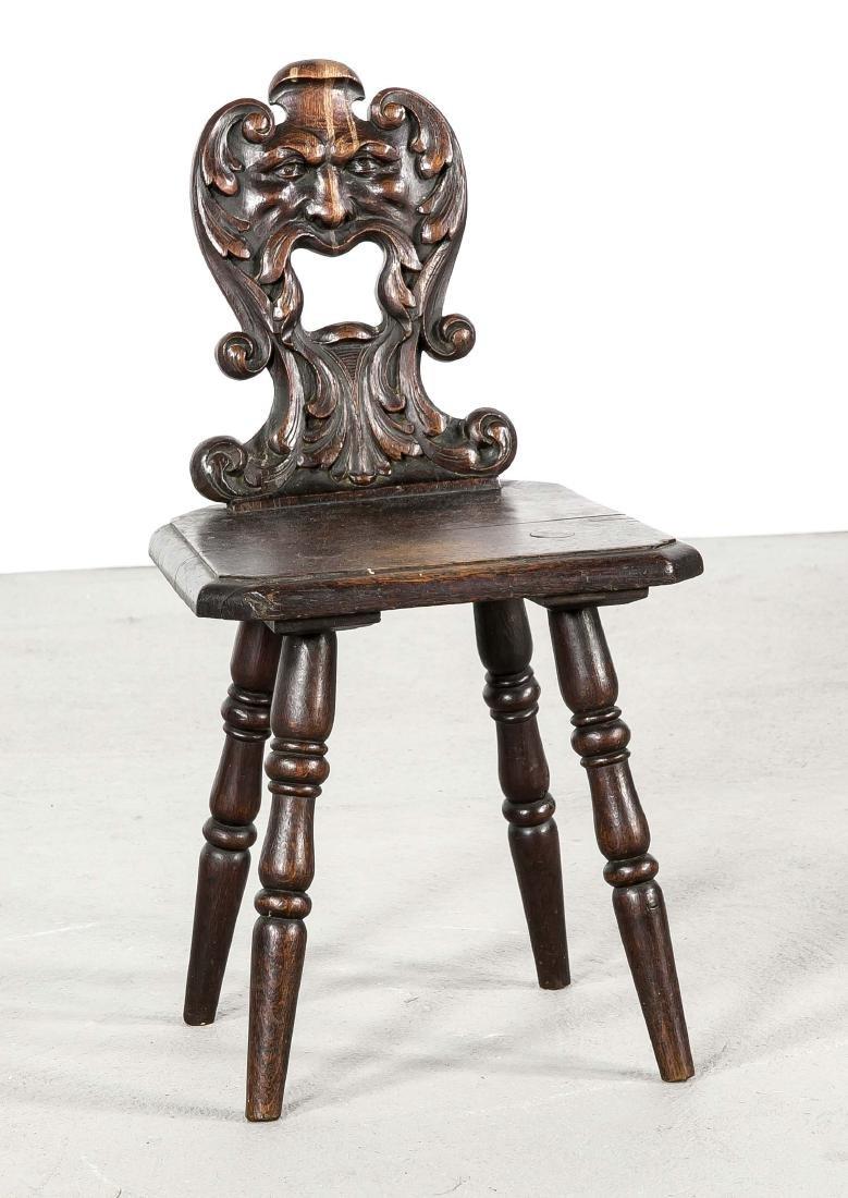 Early 19th century oak German German Fratzen high chair. Renaissance style. Size