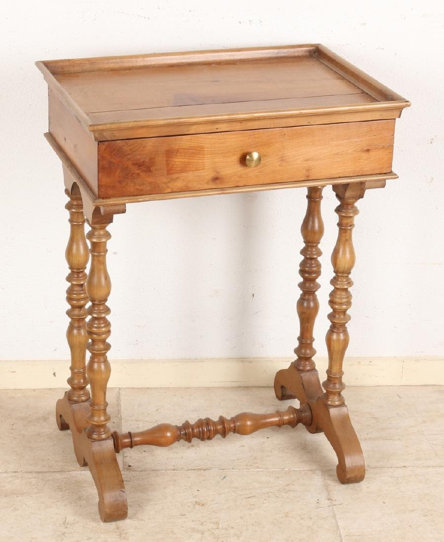 19th Century mahogany sewing table with one drawer. Unrestored. Size: 69 x 51 x