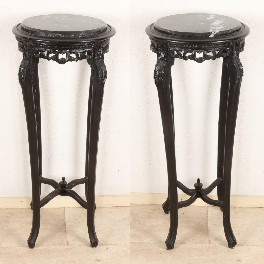 Two French-style side tables with marble top. Second half of the 20th century. S