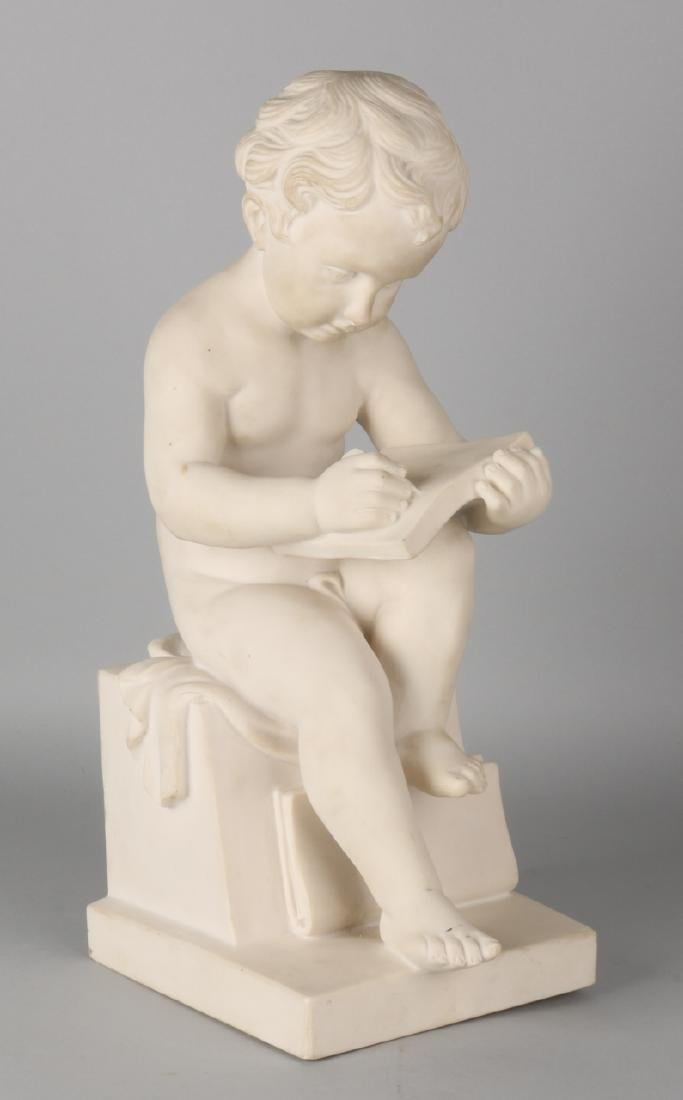 Marble signed image by Lorenzo Dal Torrione. No. 1002. Writing boy. Size: 43 cm.
