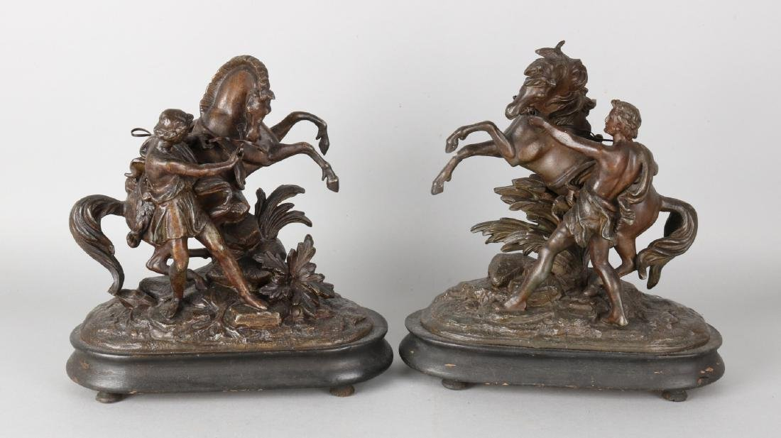 Two figures to Coustou on wooden basement. Horsemen. Circa 1860. Composition met
