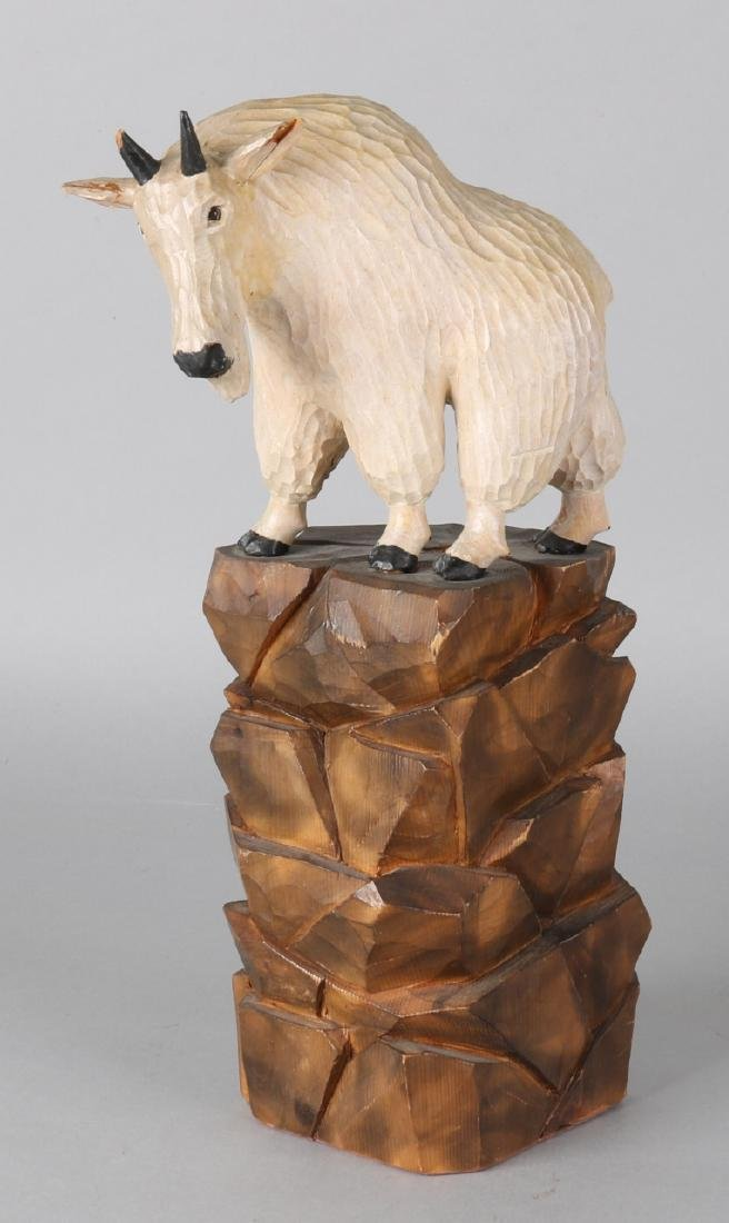 Old German wood-stuck mountain goat. Circa 1930. Size: 31 cm. In good condition.