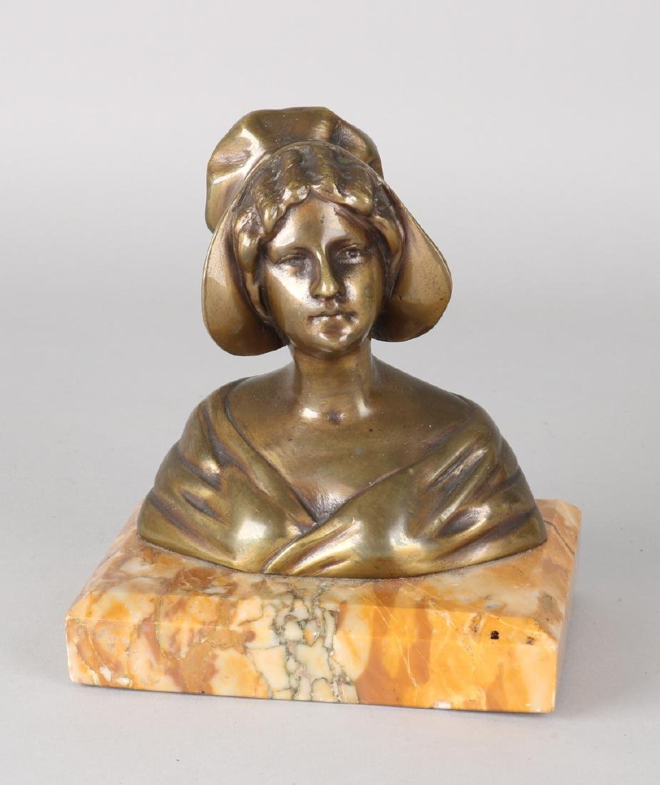 Antique French bronze bust on marble basement. French paysanne. Size: 16 x 14 x