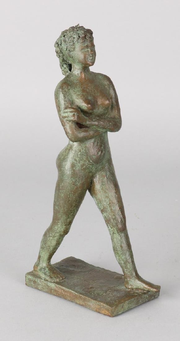 Old bronze naked lady. Monogrammed HMW Nr. 2 of 2. Circa 1950 - 1970. Size; 19 c