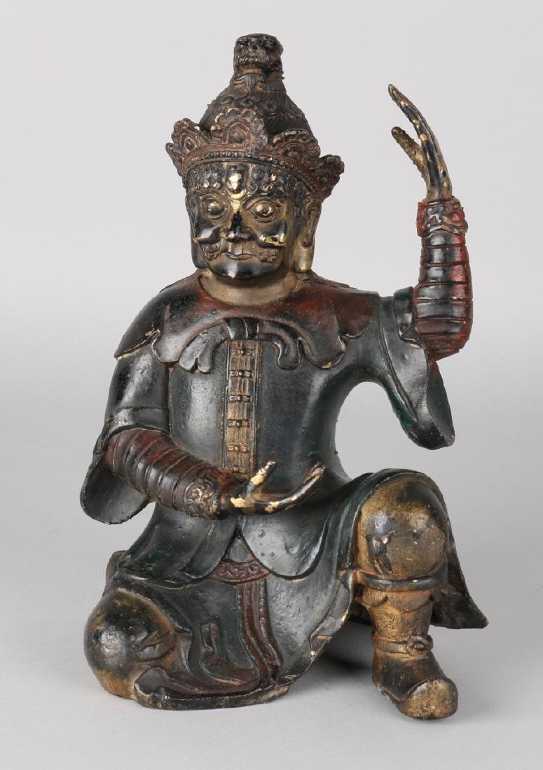 Old / antique Chinese bronze figure. Dark patinated. Size: 25 cm. In good condit
