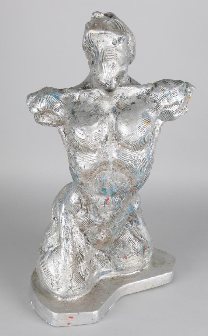 Androgine female bust, silver color. Cast. 20th century. Size: 48 cm. In good co