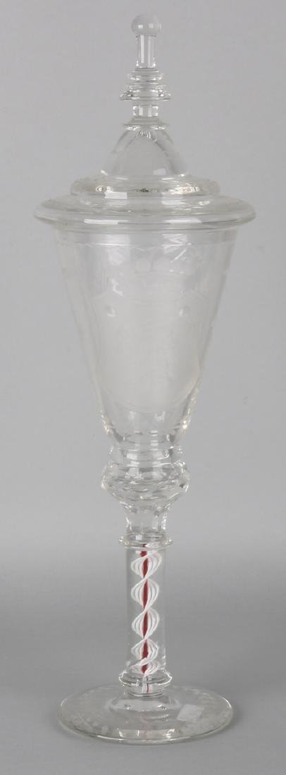 Large 19th century etched glass pendulum lid goblet with flower basket and weapo