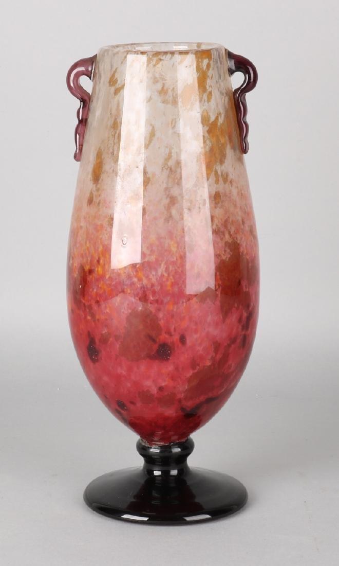 Antique Jugendstil Schneider glass vase with iridescent effect. Size: 31 cm. In