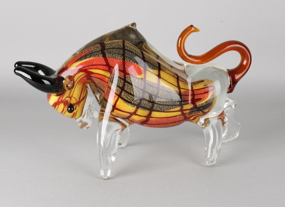Modern art glasses bull. Second half of the 20th century. Size: 23 x 37 x 9 cm.