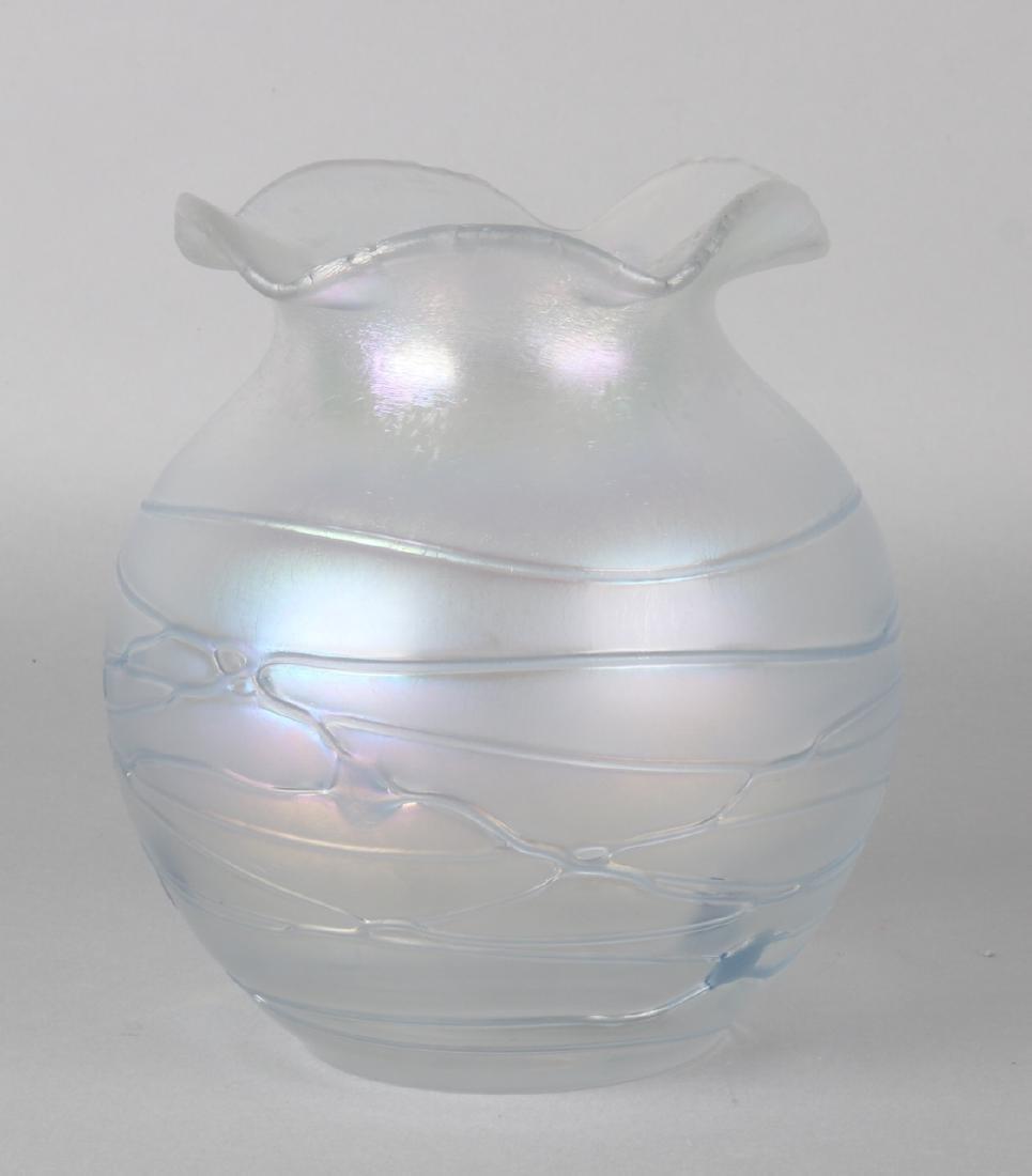 German Palme König Jugendstil glass ball vase. 20th century. Size: 17 cm. In goo
