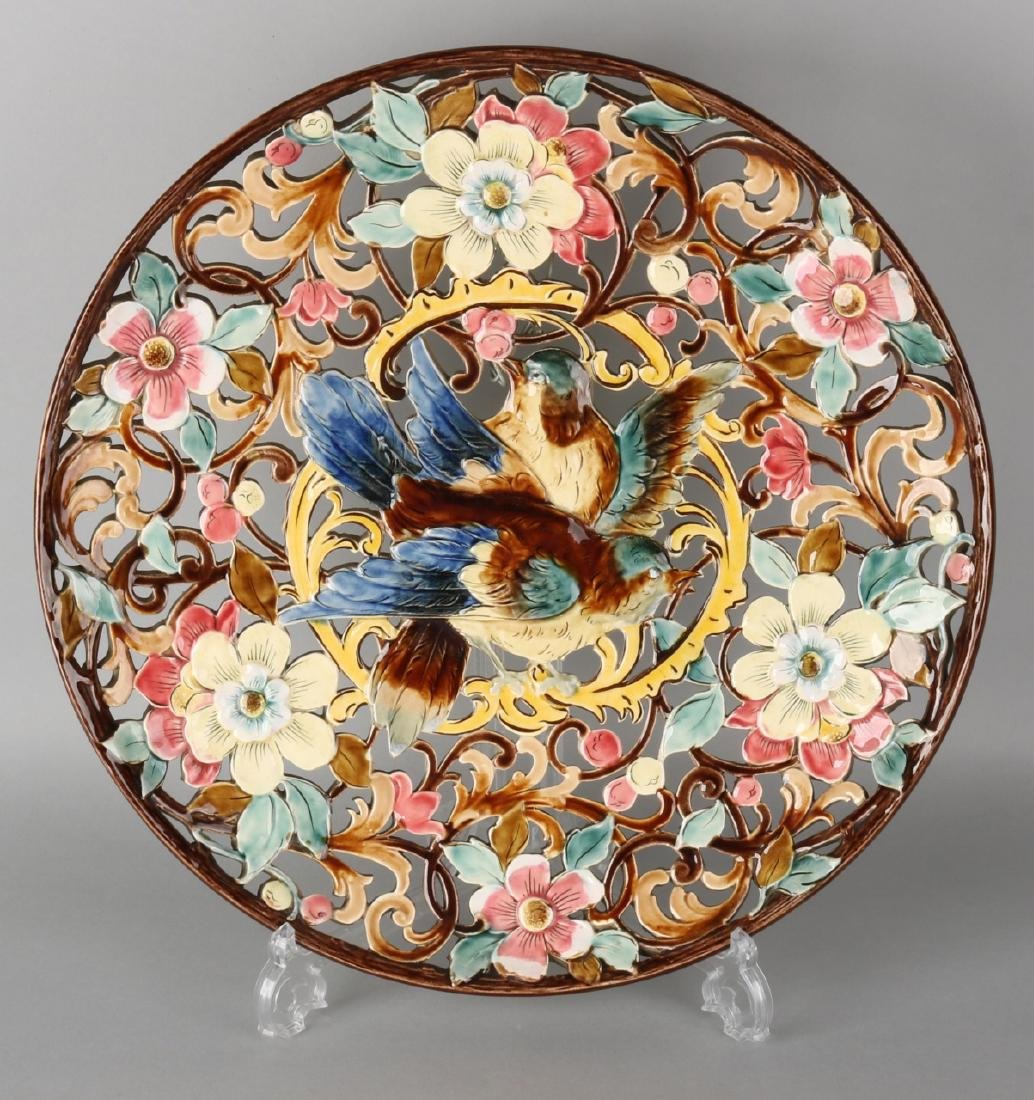Large antique openwork Majolica decorative plate with birds and floral decor. Nu