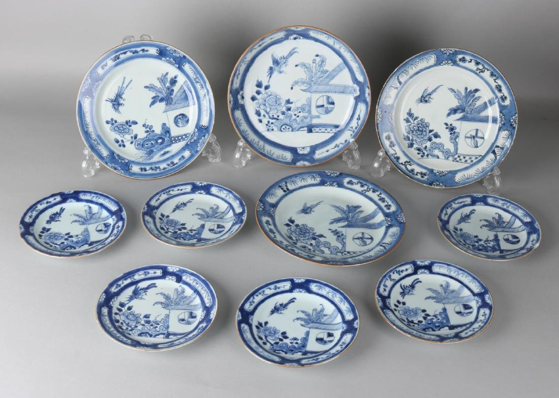 Ten antique Chinese porcelain plates + bowl + three plates, with garden decors.