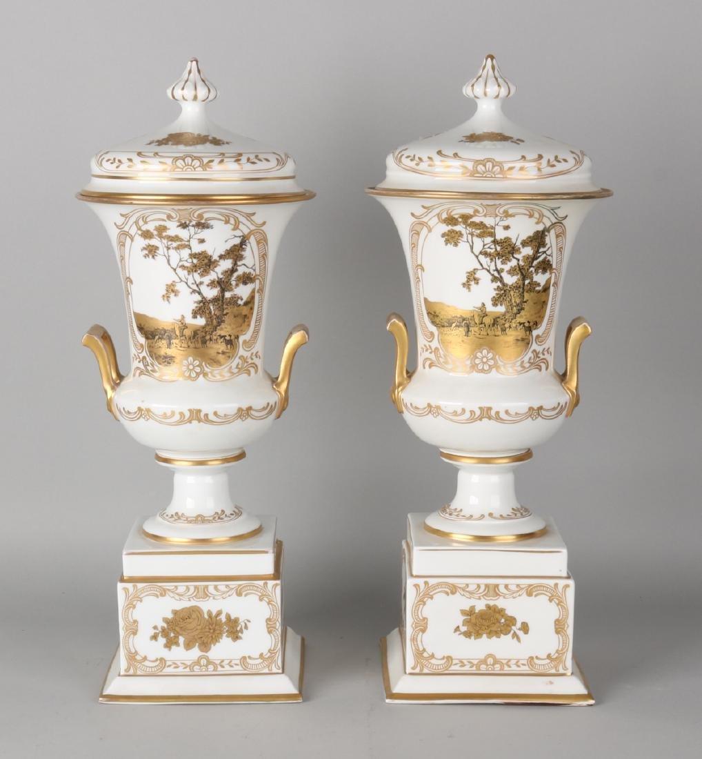 Two large German Rosenthal porcelain lid sections, Kunstabteilung. With landscap