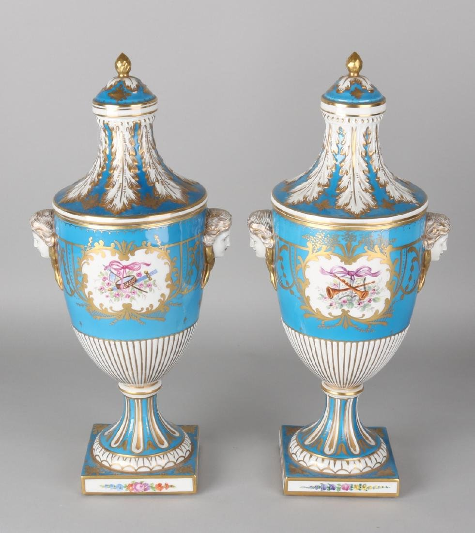 Two large German Louis Seize-style Dresden porcelain vases with gold and floral