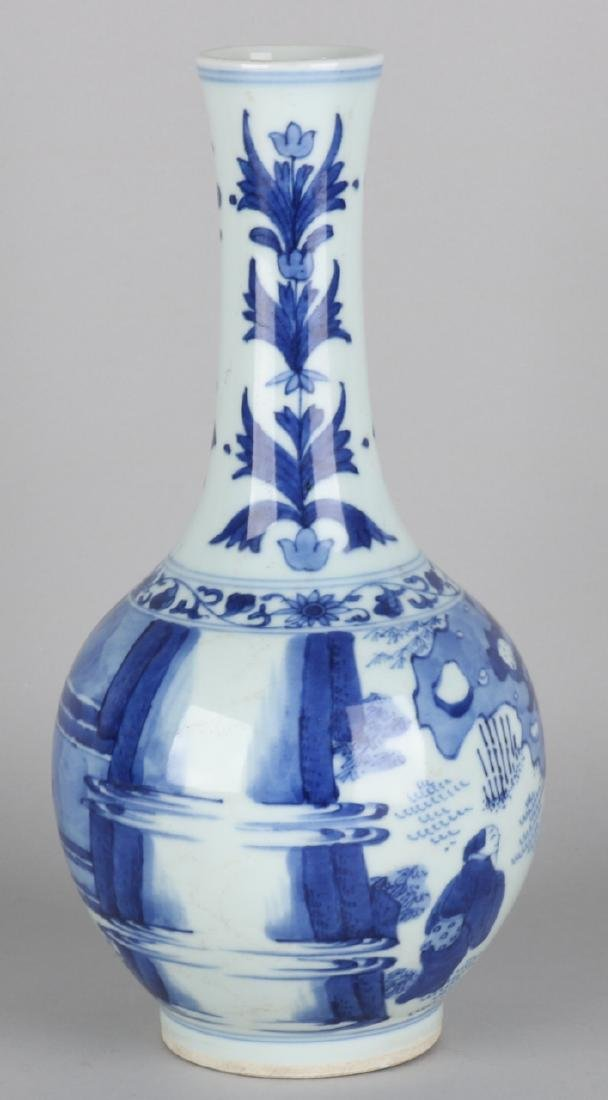 19th Century Chinese porcelain pipe vase with floor mark and figures in landscap