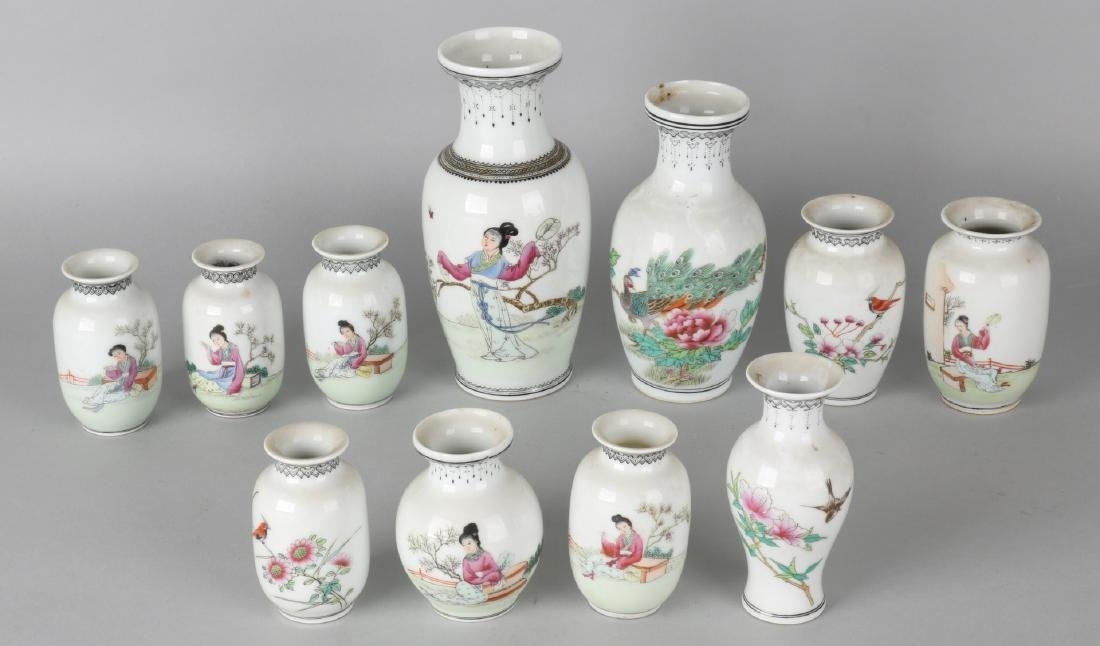 Eleven old Chinese porcelain vases with birds and figures decors and Chinese cha