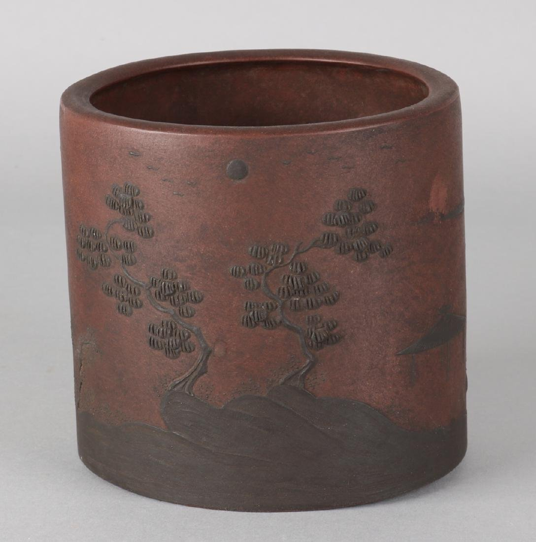 Antique large Chinese Yi Xing brush pot with landscape decor and soil mark. Size